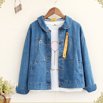 Chick embroidery peter pan collar long sleeve denim personality jacket coat mori girl 2016 autumn