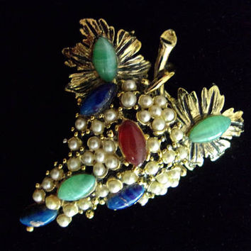 Peking & Lapis Glass HOLLYCRAFT Seed Pearl Brooch-Pin, Grape Cluster, Signed, Vintage