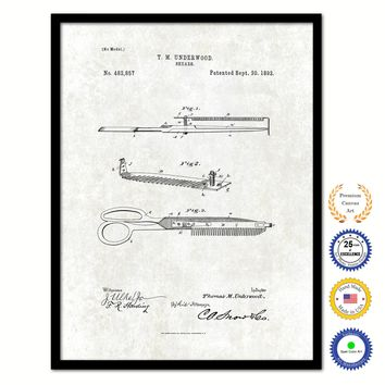 1892 Barber Shears Vintage Patent Artwork Black Framed Canvas Print Home Office Decor Great Gift for Barber Salon Hair Stylist