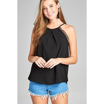 Ladies fashion round halter neck w/lace detail cami crepe woven top