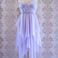 PAULINA Lilac Leaves Applique Romantic Chiffon Asymetrical Long Dress Size S/M (Available for Custom Size)