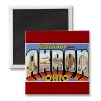 Greetings from Akron, Ohio Refrigerator Magnets