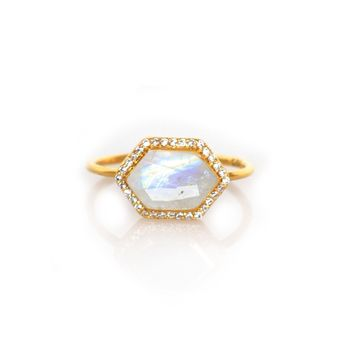 Rainbow Moonstone and Diamond Royale Ring