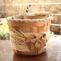 Rustic Flower Girl Basket with ivory lace and fabric flowers and Fall accents