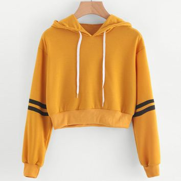 2018 Women Autumn Sweatshirts Women Varsity-Striped Drawstring Crop Hoodie Yellow Jumper Crop Pullover Ladies Harajuku Clothes