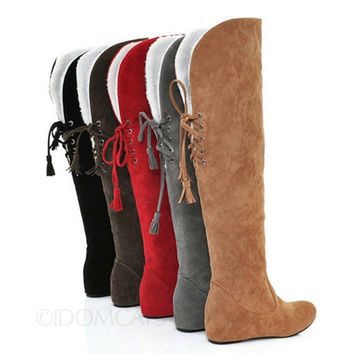 Black/Brown/Camel/Grey/Red Winter Furry booties Womens Ribbon Tassel Suede Flat Shoes Over Knee Boots Size 43-34 SB13# = 1945732804