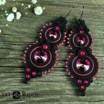 Soutache earrings, orecchini soutache, soutache bilateral, Swarovski, boucles d'oreilles soutache, elegant soutache, black soutache