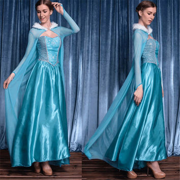 2016 New adult Cinderella costume Alice Princess high quality blue Snow Queen cosplay costume party halloween costumes for women