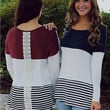 Three-Color Back Stitching Lace T-Shirt in Wine Red or Dark Blue