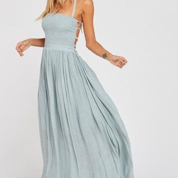 on cloud 9 halter tube smocked maxi dress - cloud/sky blue