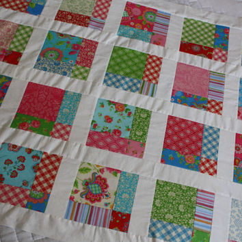 Unfinished Quilt Top, Ready to Quilt, Baby Girl Quilt, Lap Quilt, Gypsy Girl by Moda