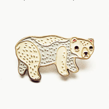 Polar Bear Pin Polar Bear Jewelry White Bear Pin Enamel Lapel Pin Polar Bear Brooch Polar Bear Hat Pin Mens Lapel Pin - Lapel Pins