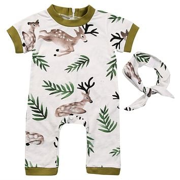Newborn Baby Infant Boy Girl Romper +Headband Deer Jumpsuit Outfits Clothes