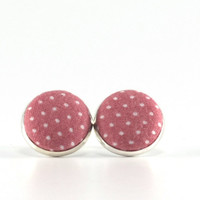 Pink Stud Earrings - Amaranth Pink Polka Dots Earring Studs - Cameo Pink Fabric Covered Buttons Silver Toned Earrings Posts Jewelry