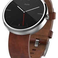 Motorola Moto 360 - Black Leather Smart Watch ***Discontinued by Manufacturer***
