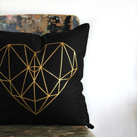 Geometric heart pillow cover, Metallic gold on black cushion cover, gold and black throw pillow, metallic gold decor, teen bedroom decor