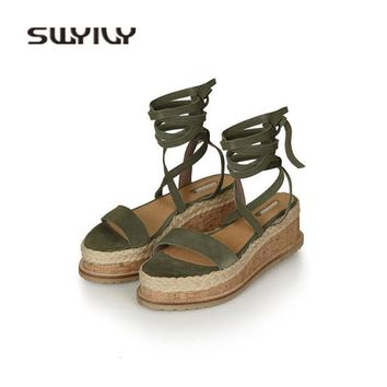 SWYIVY Woman Sandals Platform Bandage 2018 Summer Female Cork Sandals Shoes Europe Straw Hemp Wedge Summer Shoes Cross Strap