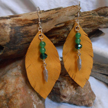 ON SALE Beautiful OOAK Leather Leaf Gemstone Earrings, Jade and Swarovski Crystals on Gold Deer Hide, Mother Nature Inspired