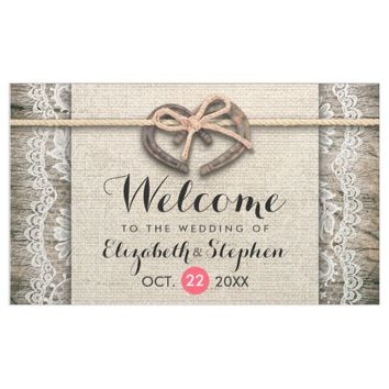 Rustic Wood Horseshoes Burlap Lace Wedding Welcome Banner