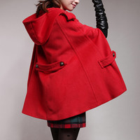 Women's hooded cape red winter coat cashmere wool coat autumn outerwear BJ038