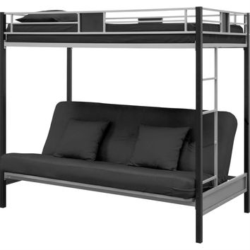 Twin over Futon Bunk Bed in Silver / Black Metal Finish