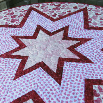 Quilted Table Topper Quilt Valentine Heart 672