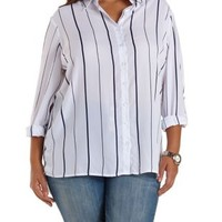 Plus Size Striped Flyaway Button-Up Top