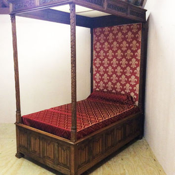 RARE Antique French Gothic Canopy Bed 19th Century #5873