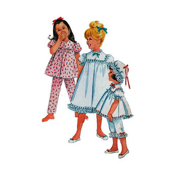 "1960's McCall's 6123 Girl's Nightgown or Pajamas and Nightcap Size 2 || Breast 21""/ 53cm 