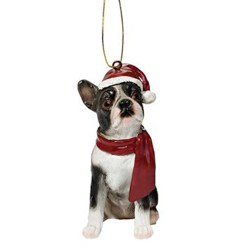 SheilaShrubs.com: Boston Terrier Holiday Dog Ornament Sculpture JH576302 by Design Toscano: Christmas Tree Ornaments