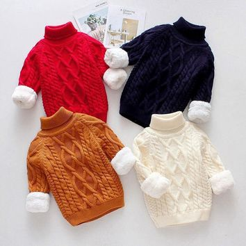 Winter baby boys girl clothes thick tops high knit sweaters coat for newborns infant babies clothing Pullover outerwear sweaters