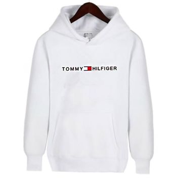 """Tommy Hilfiger"" Fashionable Women Men Casual Print Long Sleeve Hoodie Sweater Top Sweatshirt Red"