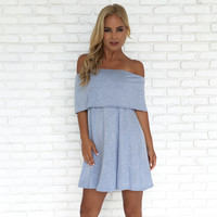 Soft Breeze Strapless Dress in Blue