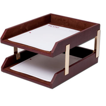 Dacasso Office Desk Paper Mesh Storage Organizer Mocha Leather Double Letter Trays