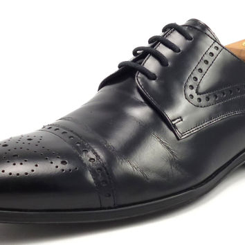 Versace Mens Shoes 42, 9 US Leather Cap Toe Oxfords V900149 Black