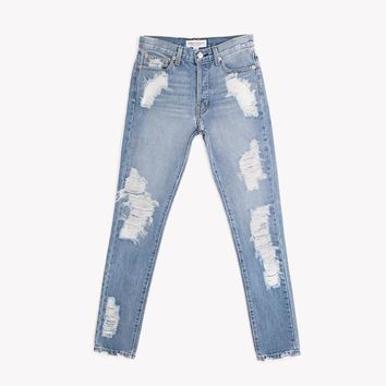 Skinny Aged Frayed High Rise Jeans