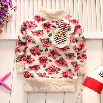 Girls Sweaters Children's pullover Floral Sweater Girls pullover baby girls Autumn&winter clothes Kids thick coat