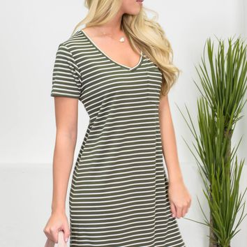Summer Striped Travel Dress | Olive Green