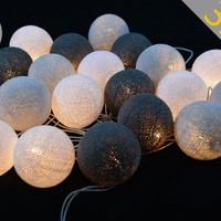 35 Lights White,White Smoke, Gray - Cotton Ball String Lights Fairy lights Party Decor Wedding Garden and Holiday Lighting