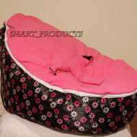 Baby Bean Bag Chair, sofa and Bed for Infants, Toddlers, Children, Kids - Pink Flower