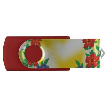 Yellow Floral Flash Drive
