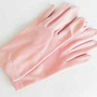 Vintage Gloves Light Pink Gloves Easter Gloves Costume Gloves Church Gloves Short Gloves Womens Gloves Glove Size 6