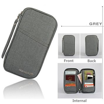 GRAY Travel Journey Document Organizer Wallet Passport ID Card Holder Ticket Credit Card Bag Case