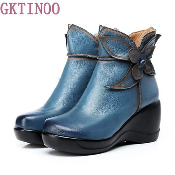 Autumn And winter Fashion Genuine Leather Shoes Women's Boots Casual Women Wedges Handmade Woman Ankle Boots