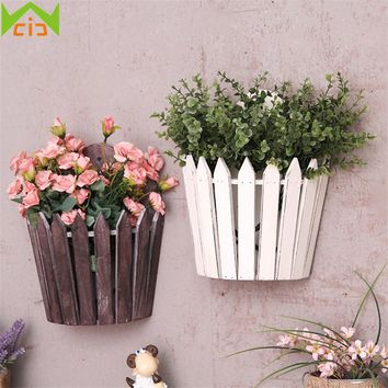 WCIC Wall Mounted Wooden Flowerpot Decorative Wall Hanging Planter Plant Vase Wood Silk Flower Artificial Plants Garden Decor