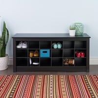 Broadway Black Shoe Storage Cubbie Bench | Overstock.com Shopping - The Best Deals on Benches