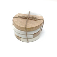 "Creative Co-Op - 4"" Round Marble & Mango Wood Coaster"
