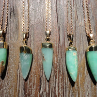 Chrysoprase Point and Gold Pendant Necklace/Gemstone/Australian Jade/Mint Green/Seafoam