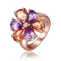 18K Rose Gold Plated Purple and Dark Red Swarovski Elements Crystal Flower Ring, Size 8