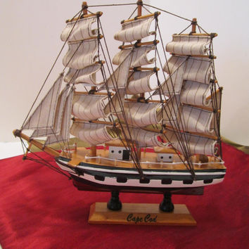 Vintage Cape Cod Souvenir Hand Painted Sail Boat Schooner Clipper Ship - Nautical Man Cave Home Desk Decor - Sailing Collectible